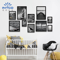 INTCO plastic wall deco black moulding picture photo frame sets