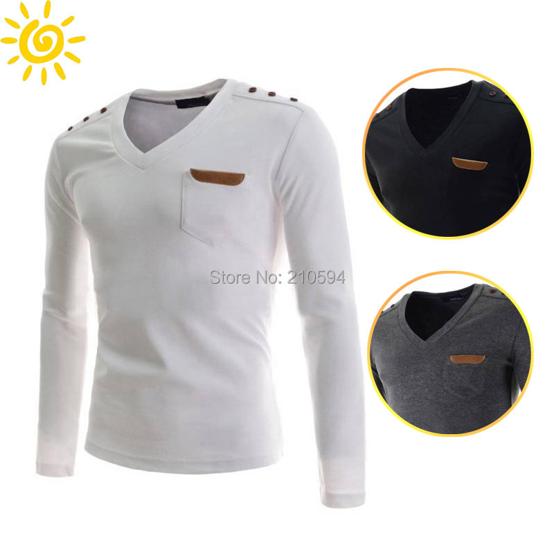 2015 Free Shipping New Brands Men Polo Shirt V-Neck T-shirt Fashion Slim Fit Casual  T Shirts  3 Colors 4 Size