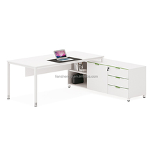 2 metres L shape high gloss white office desk