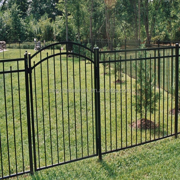Wrought iron fence gate metal pool and arched