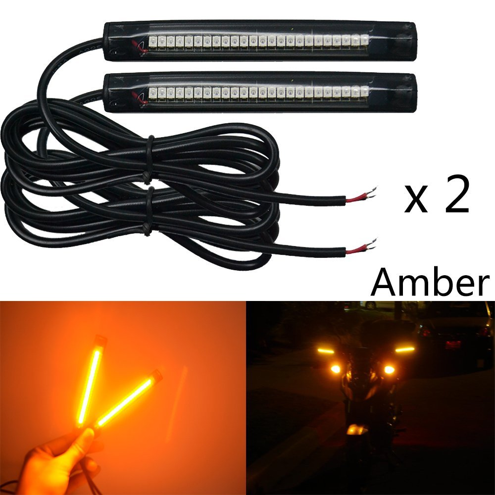 NBWDY 2x 10cm 24led pvc strip Universal Motorcycle Bike LED Turn brake Signal Indicator Blinker Light 12v (Amber)
