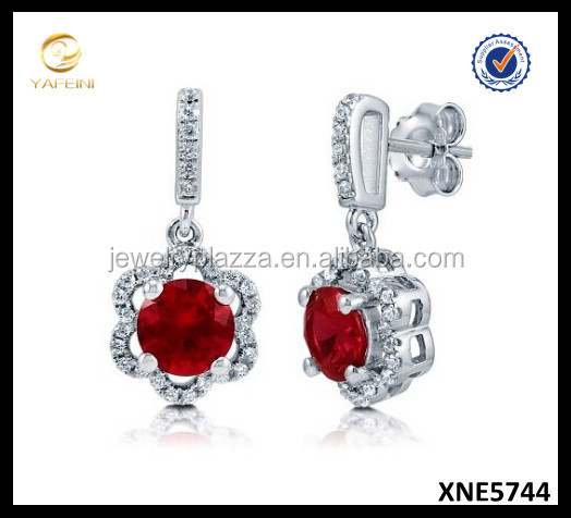 Sterling Silver Round Simulated Ruby Cubic Zirconia CZ Flower Halo Dangle Drop Earrings