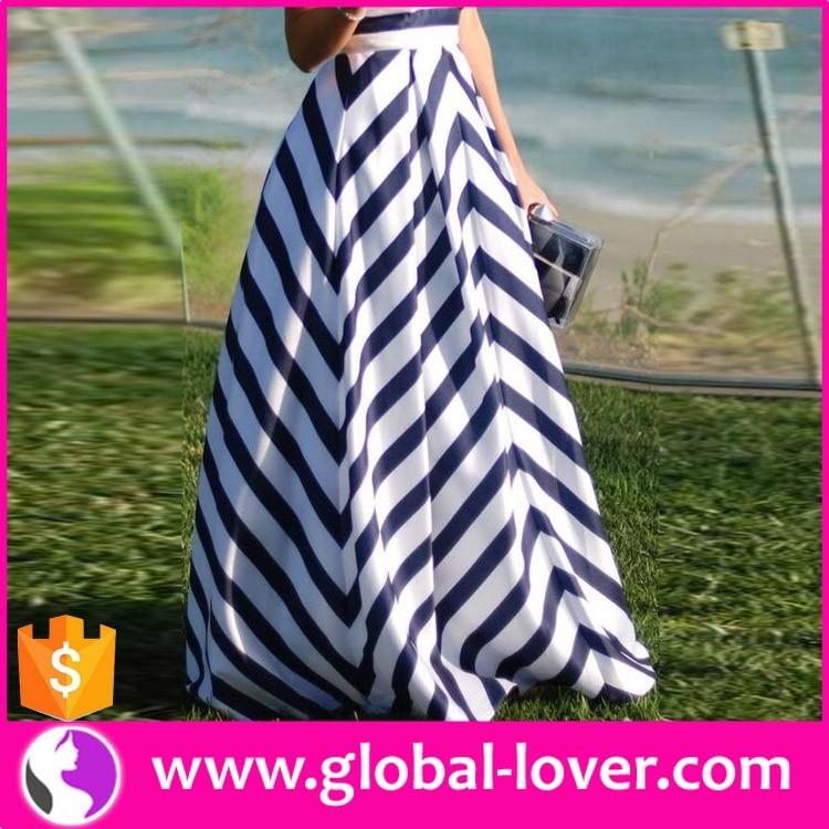 8a5575bba Verano al por mayor señora blanco y azul rayas a-line falda Maxi larga