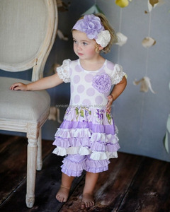 WEST GIRL summer spring lace polka purple dots floral ruffle kids boutique clothing