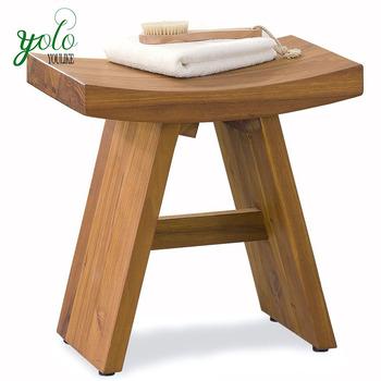 Salle de bains tabouret de bain 100 en bois naturel for Banc en bambou salle de bain