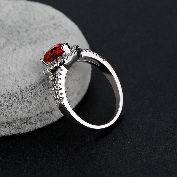 factory wholesale design red heart shape 925 sterling silver rings