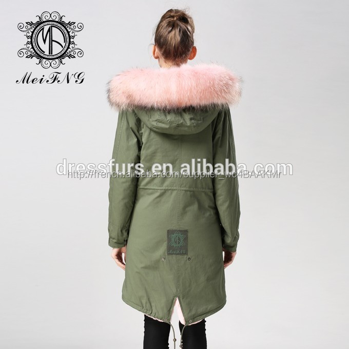jolie fille rose long parka en coton vert coquille parka v ritable fourrure de renard collier. Black Bedroom Furniture Sets. Home Design Ideas