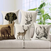 european classical concise style 3D elephant deer cow animal high quality linen cushion covers sofa chair seat cushion covers