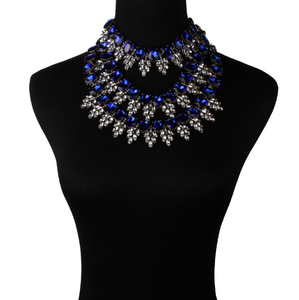 Fashion Blue Wide Rhinestone Full Crystal Statement Necklace