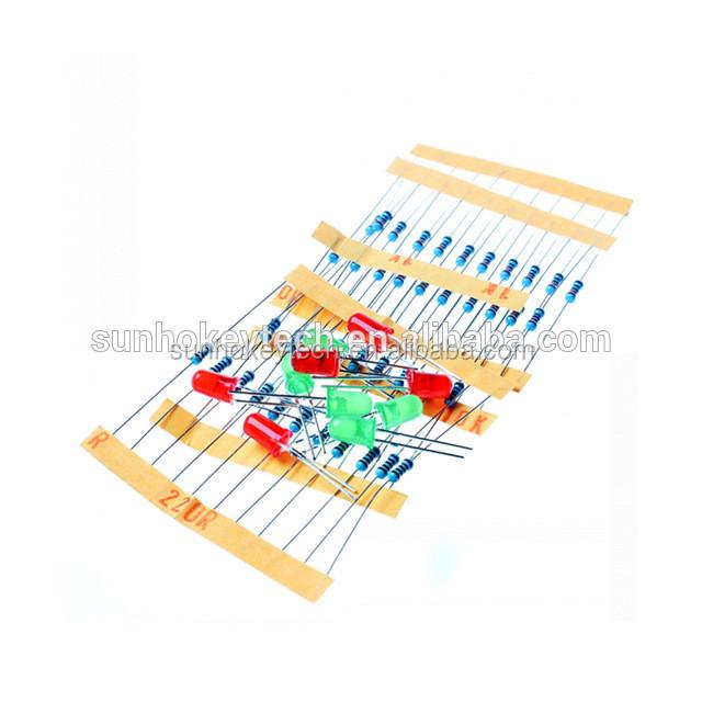 50pcs 1k 10k 100k 220 Ohm 1/4w Metal Film Resistor And Led Kit For Raspberry Pi Active Components