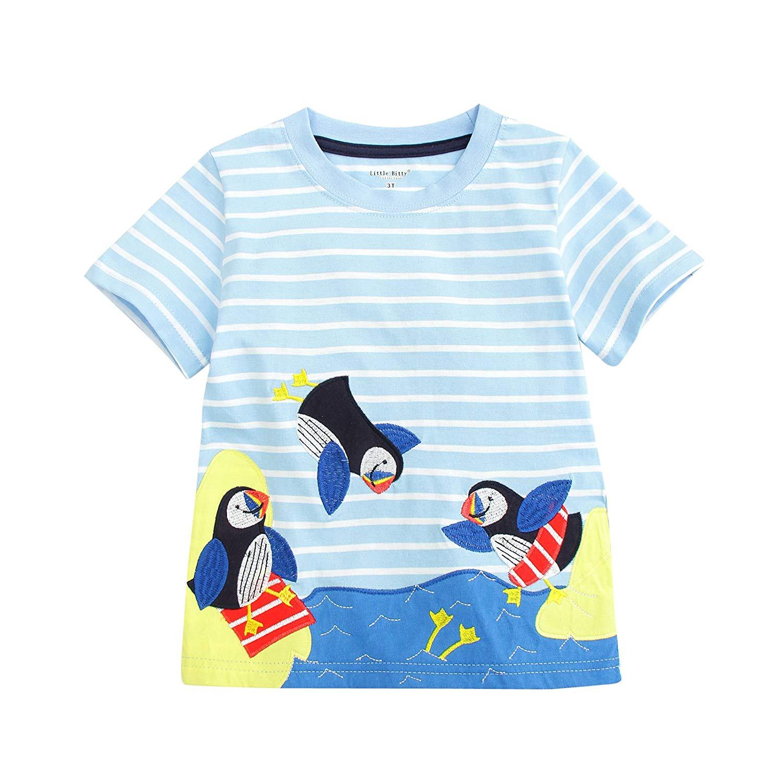 BEILEI CREATIONS Little Baby Boys' Summer Crewneck Cartoon Cotton T-Shirt