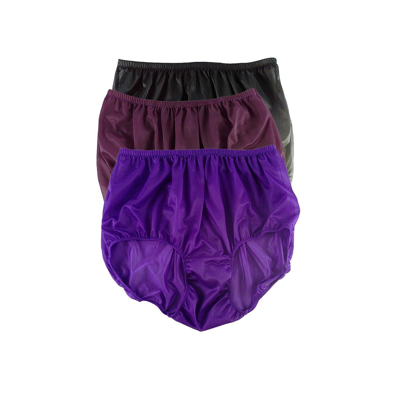 4fa85ff4861b Get Quotations · A97 Lot 3 Pcs Lingerie Underwear Full Briefs Nylon Granny  Panties For Women Mens Plus Size