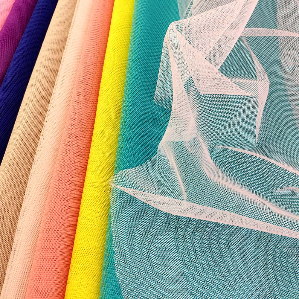Wholesale <strong>Polyester</strong> Many Color Stock 40D Hexagonal Mosquito Net Mesh Tulle Fabric