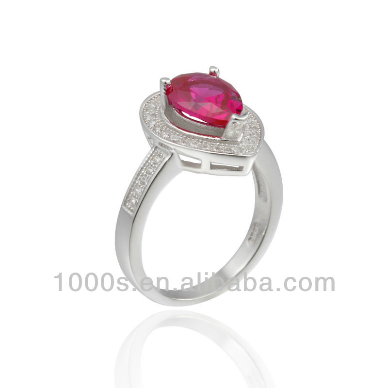 fashion ruby teardrop shaped ring/engagement ring/silver ring jewelry