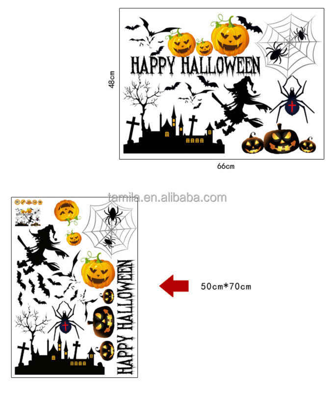 Flying Witches Bats Halloween Wall Decals Happy halloween Decor Sticker
