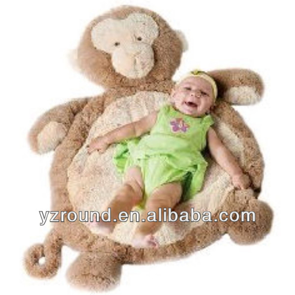 Plush monkey fluffy soft safety baby play mat