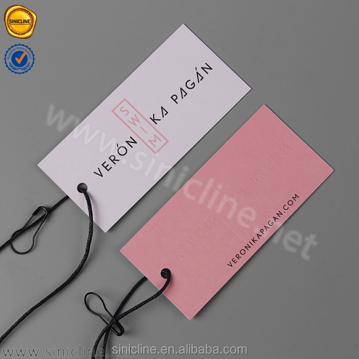 Sinicline two color logo design clothing price tags with pear safety pin