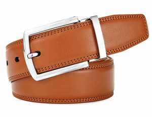 Tan Camel Cowhide Pin Buckle Mens Reversible Leather Belt
