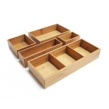 Classics 5-Piece Bamboo Storage Box Drawer Organizer Set with 3 Compartment Organizer Box