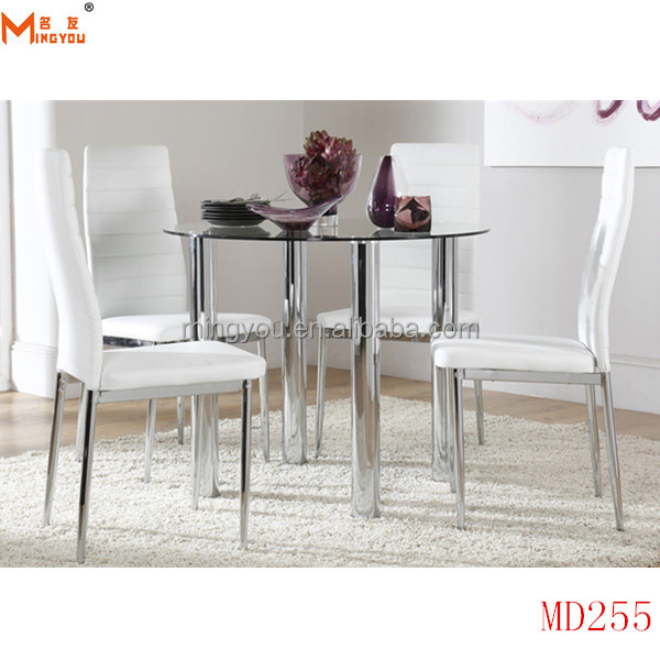 chrome legs round glass dining table chair 1+4