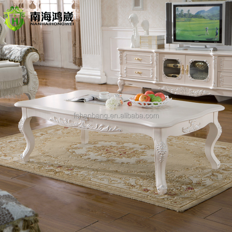 French Wood Coffee Table: Hand Carved Solid Wood French Provincial Coffee Table