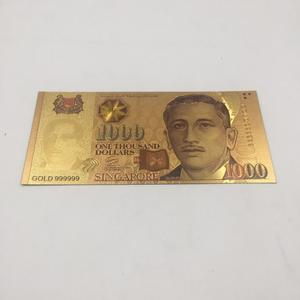Decorative Colorful Gold Banknote Metal Crafts Unique Gifts Singapore 1000 Dollar World Paper Money for Home Decor