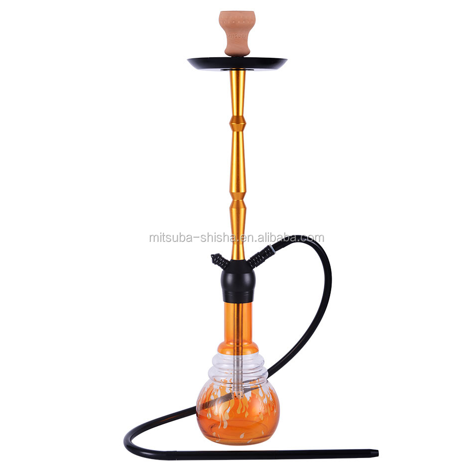 Hot sales Aluminum Hookah Shisha with silicone hose and clay bowl without led light