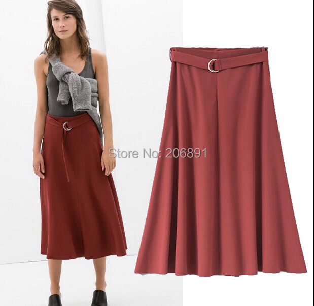 Women Pleated Skirt 2015 New Arrival Summer Clothing Women European and American Style Mid-calf Skirt Free Shipping C-65
