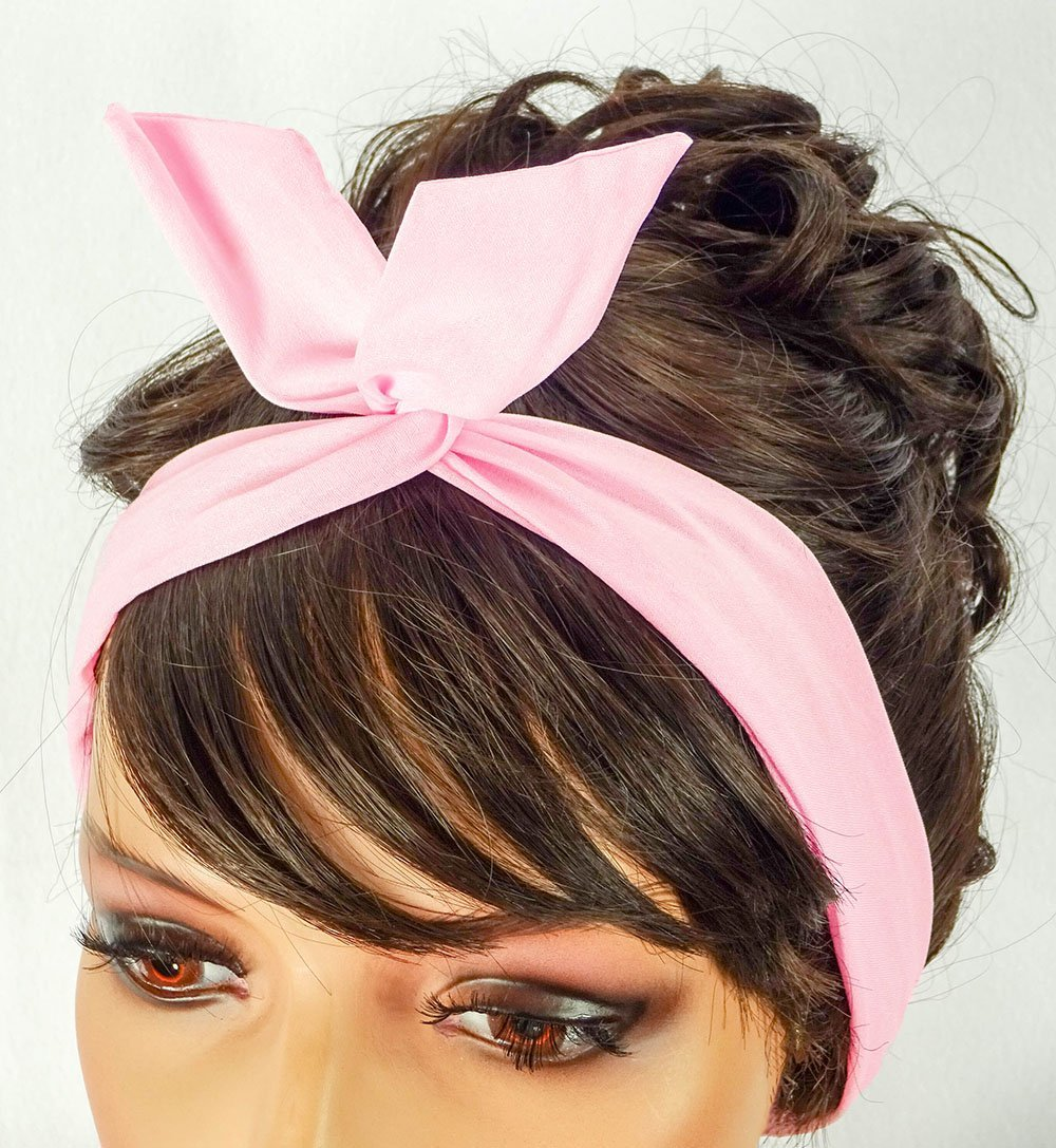 Pink Dolly Bow Wire Headband Bandana Retro Pin Up Handmade Hair Accessory  by Sweet in the daaa55110a5