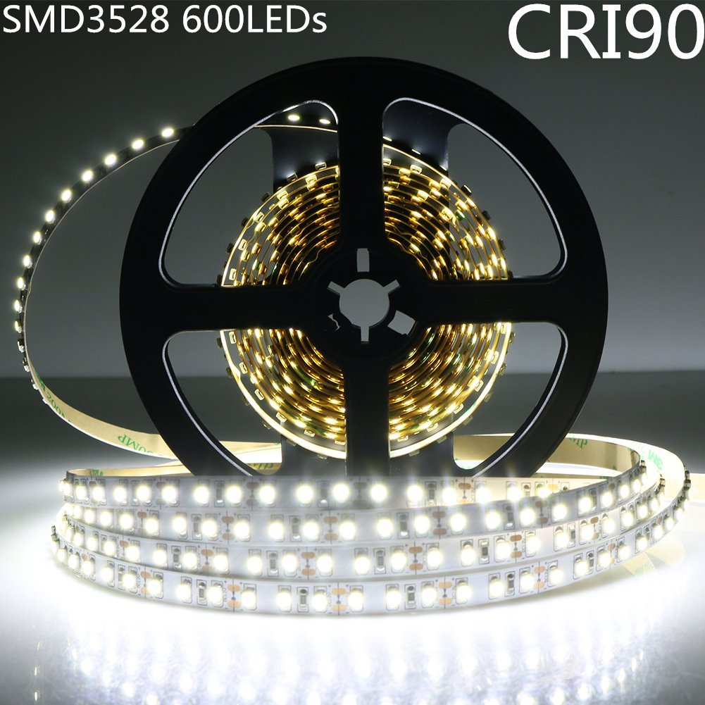 LightingWill LED Strip Lights CRI90 SMD3528 16.4Ft(5M) 600LEDs Nature White 4000K-4500K 120LEDs/M DC12V 48W 9.6W/M 8mm White PCB Flexible Ribbon Strip with Adhesive Tape Non-Waterproof H3528NW600N