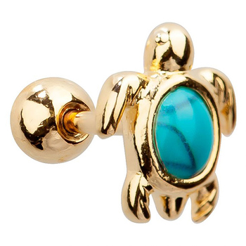 37272e2d6 Surgical Steel Synthetic Turquoise Sea Turtle Cartilage Tragus Barbell  Earring