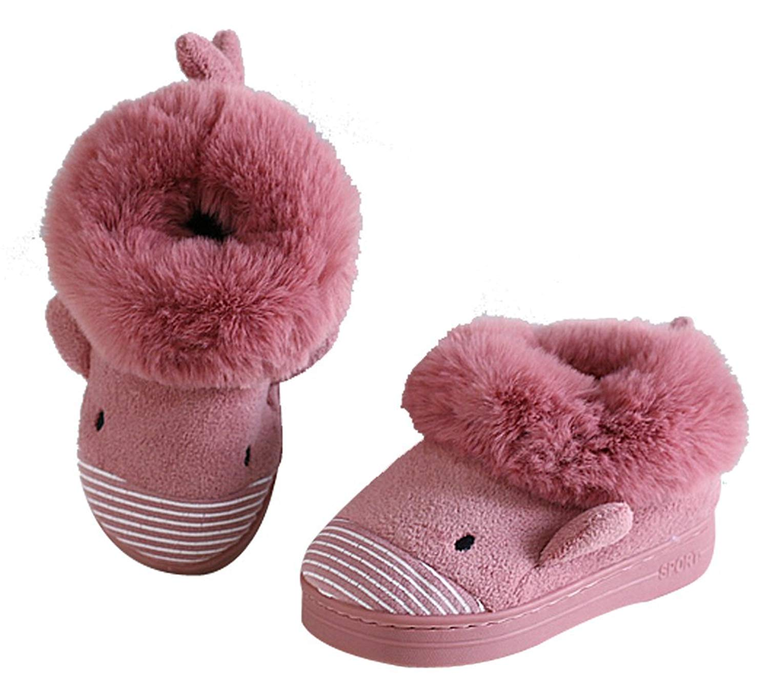 Cattior Fleece Warm Animal Slipper Shoes Cute Indoor Slippers House Shoes Toddler
