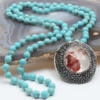FH00511010 handmade POP necklace with natural gemstone pendant, garden crystal charm necklace