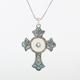 Popular Inlay Rhinestone Cross Shape Pendant Snap Button Necklace For Women Man