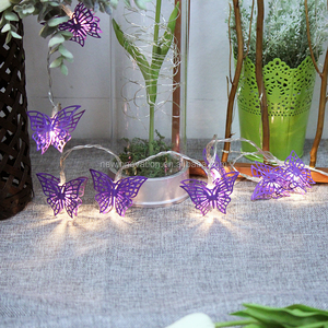 10L christmas warm white LED light chain with purple butterfly ornament