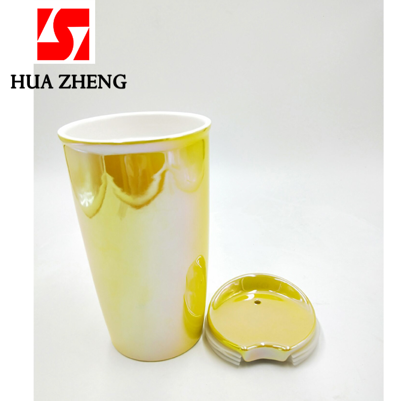 HUAZHENG 400ML Double Wall Porcelain Ceramic Take Away Travel Mug Coffee Cups With Ceramic Lid