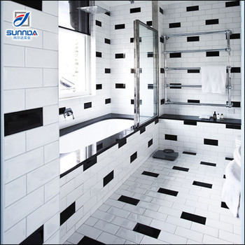 Bathroom kitchen matte floor tiles 10x30cm flat glossy glazed white and black marble subway ceramic wall