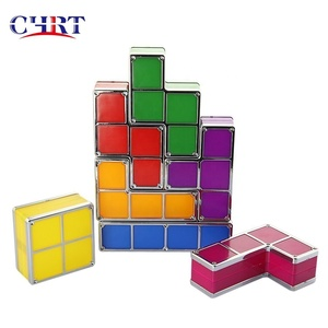 CHRT DIY 7 PCS Tetris Night Light 7 Colors Stackable Tangram Puzzles LED Induction Interlocking Tetris Puzzle Lamp