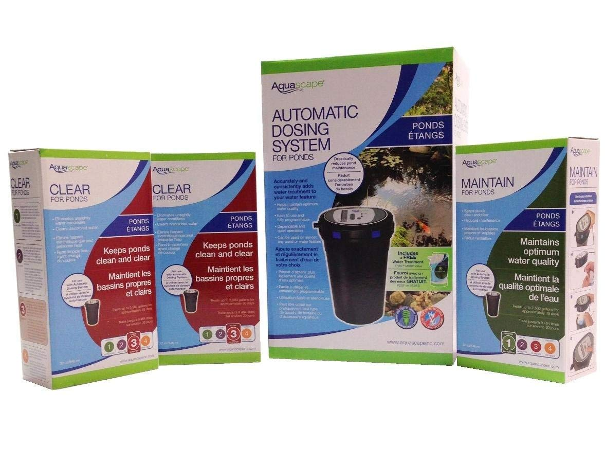 Aquascape Automatic Dosing System Xtra Cleaning Starter Kit for Ideal Water Quality in Ponds, Water Gardens, Fountains - Custom Package with Extra Maintain and Clear Treatments - Easy to Use
