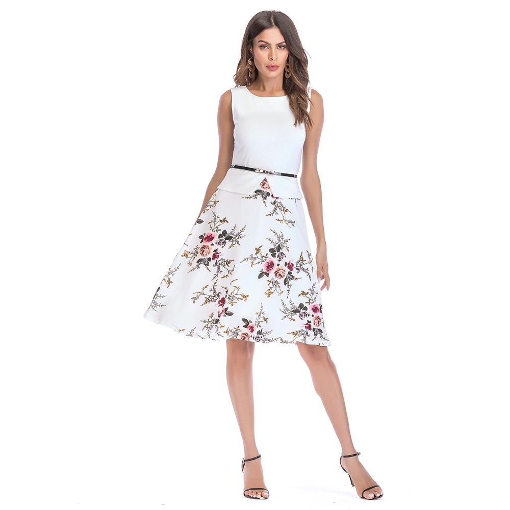 846f103d7 2019 último estilos sin mangas impreso Flora una línea de moda de verano de  alta calidad