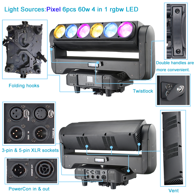 wash moving head lamp with strong beam led-stage-light 6pcs 60w full color rgbw 4in1 wash zoom led movinghead light