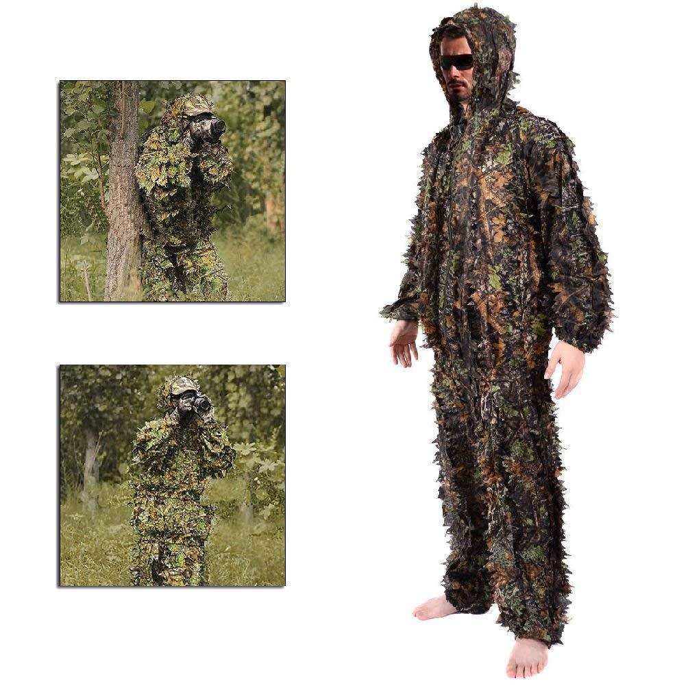 fa3e37ba8de4b Get Quotations · Leaf Ghillie Suit Woodland Camo Camouflage Clothing 3D  jungle Hunting L / XL