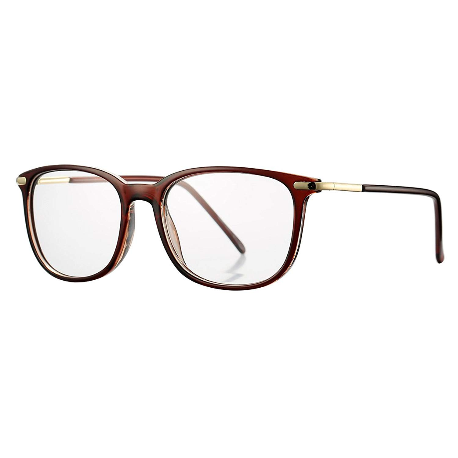 656bc5b31380 Get Quotations · Non-prescription Horn Rimmed Clear Lens Hipster Eye Glasses  Frame Metal Temple OpticaL Eyewear(