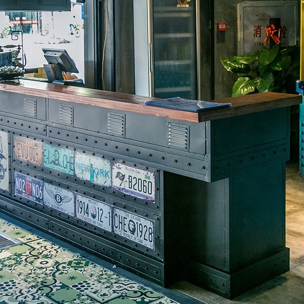 industrial furniture shipping container furniture reception desk custom made size color moq is 1 pcs