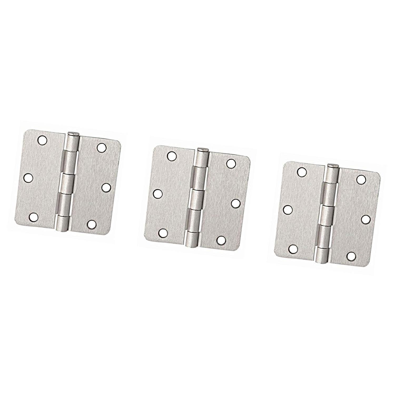 "3pcs Set Kit Accessories Repair Window Door Round Corner Door Hinges 3-1/2"" x 3-1/2"" - 1/4"" Radius, Satin Nickel Hinged"