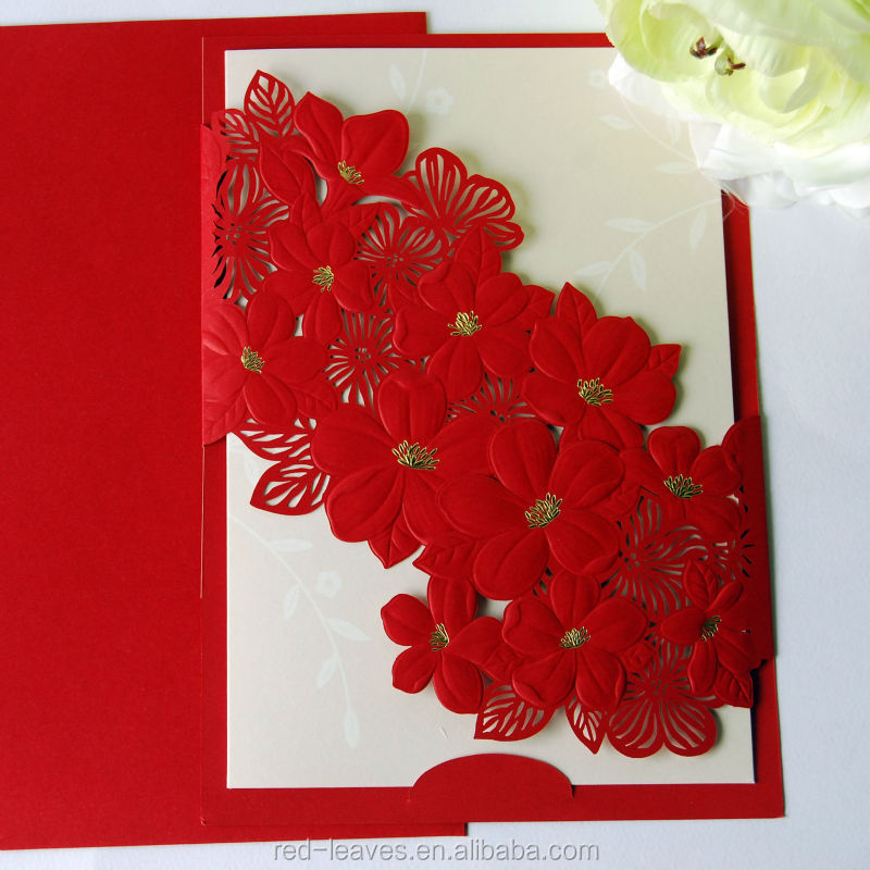 laser cut elegant flower wedding card design foilding ...