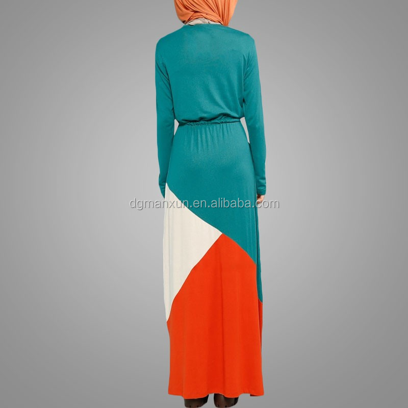2017 Manxun cotton jersey dress long jersey dress colorfull women muslim long dress