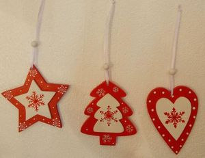 Red plain wooden Christmas tree ornament