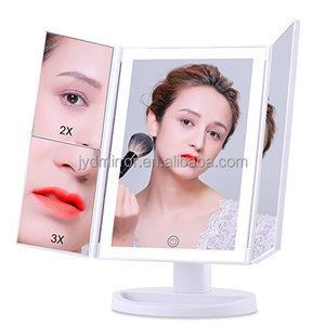 2017 latest Makeup Mirror Vanity Mirror LED Lighted Tri-fold Mirror with Touch Screen and USB Charging
