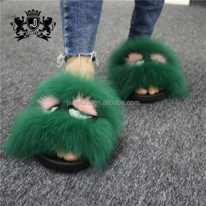 Sticky Large Fur Women's Sandals Cool Slippers Fashion Wholesale Fur Slides
